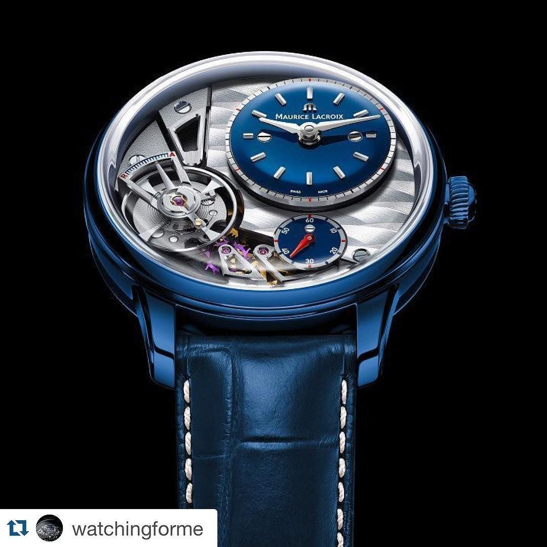 """#Repost @watchingforme with @repostapp.  Maurice Lacroix Masterpiece Gravity  For Only Watch 2015 Maurice Lacroix has created the cutting-edge Masterpiece Gravity """"Only Watch 2015"""". Its blue polished POWERLITE case is a special design creating an eye-catching effect. Using a unique andpatented alloy Maurice Lacroix fused Titanium Aluminum Magnesium Zirconium and Ceramic to form a robust durable and light alloy. Matching bluelacquered time andseconds dialscompletethe look with rhodied logo…"""