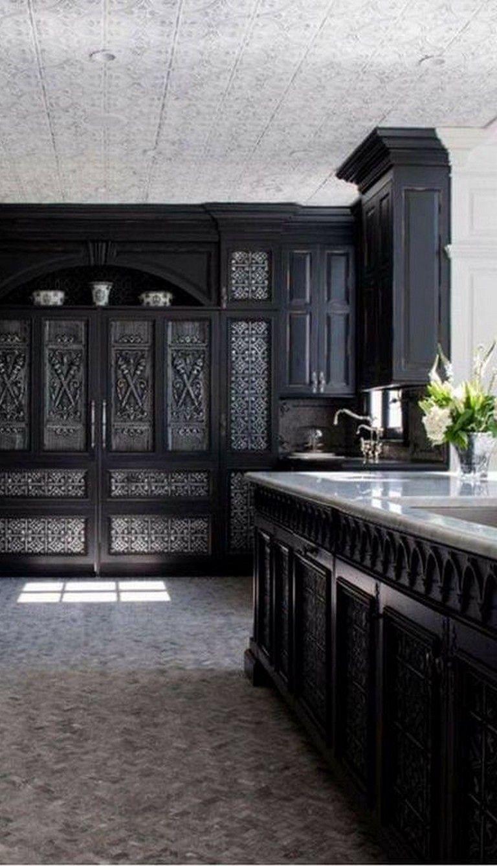 25+ Amazing Gothic Black Kitchen Interior Design Ideas