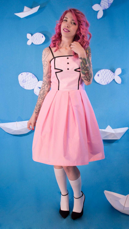 SALES Pink Cotton Dress / Party Dress / Prom Dress / Pleated Dress ...