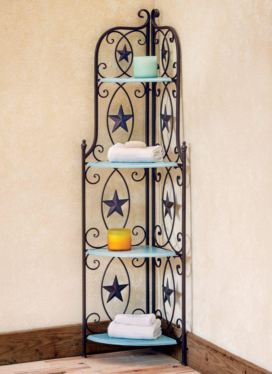 Star Corner Shelf With Turquoise Wood Decor Western Decor