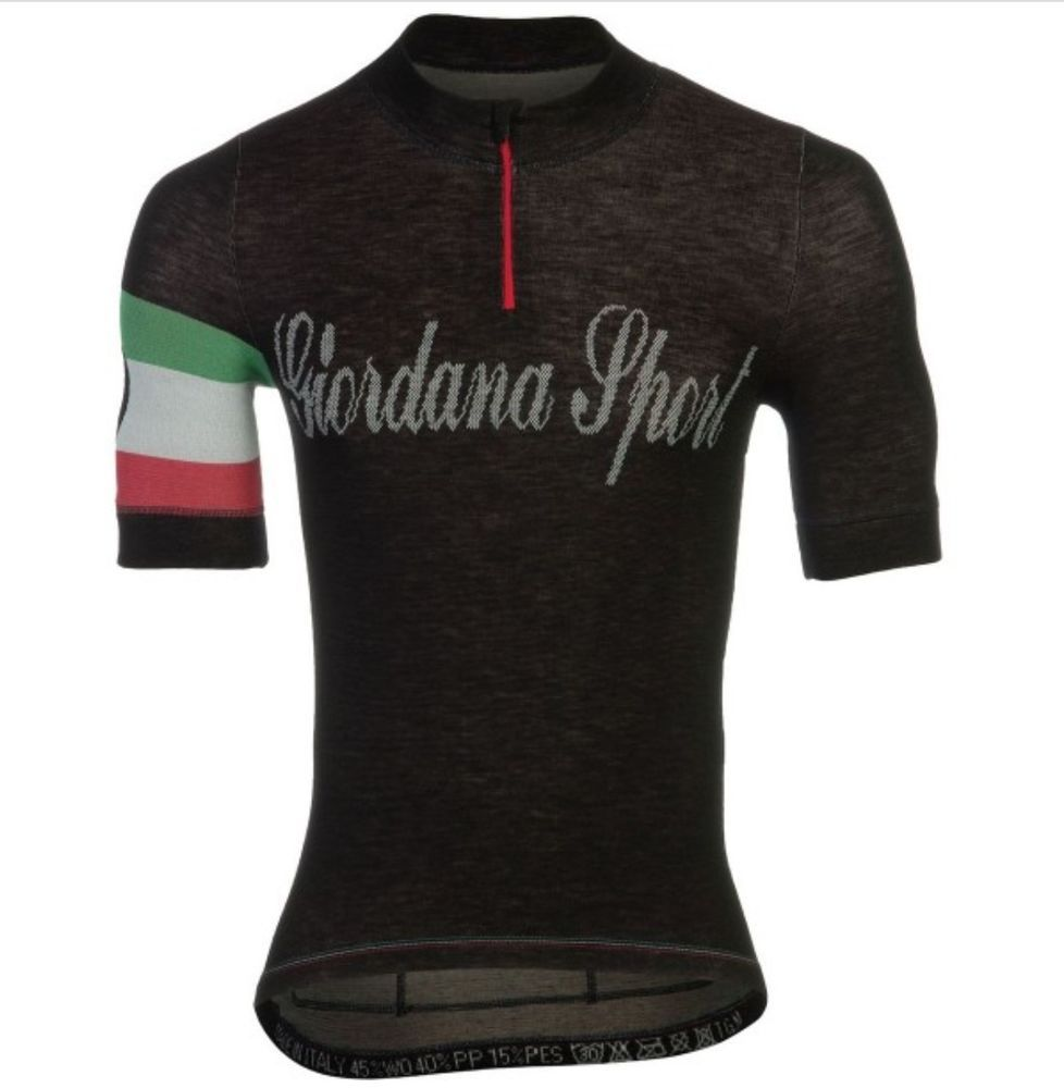 18dd66076 Giordana Sport Classic Performance Knitted Wool Short Jersey - Black Italia