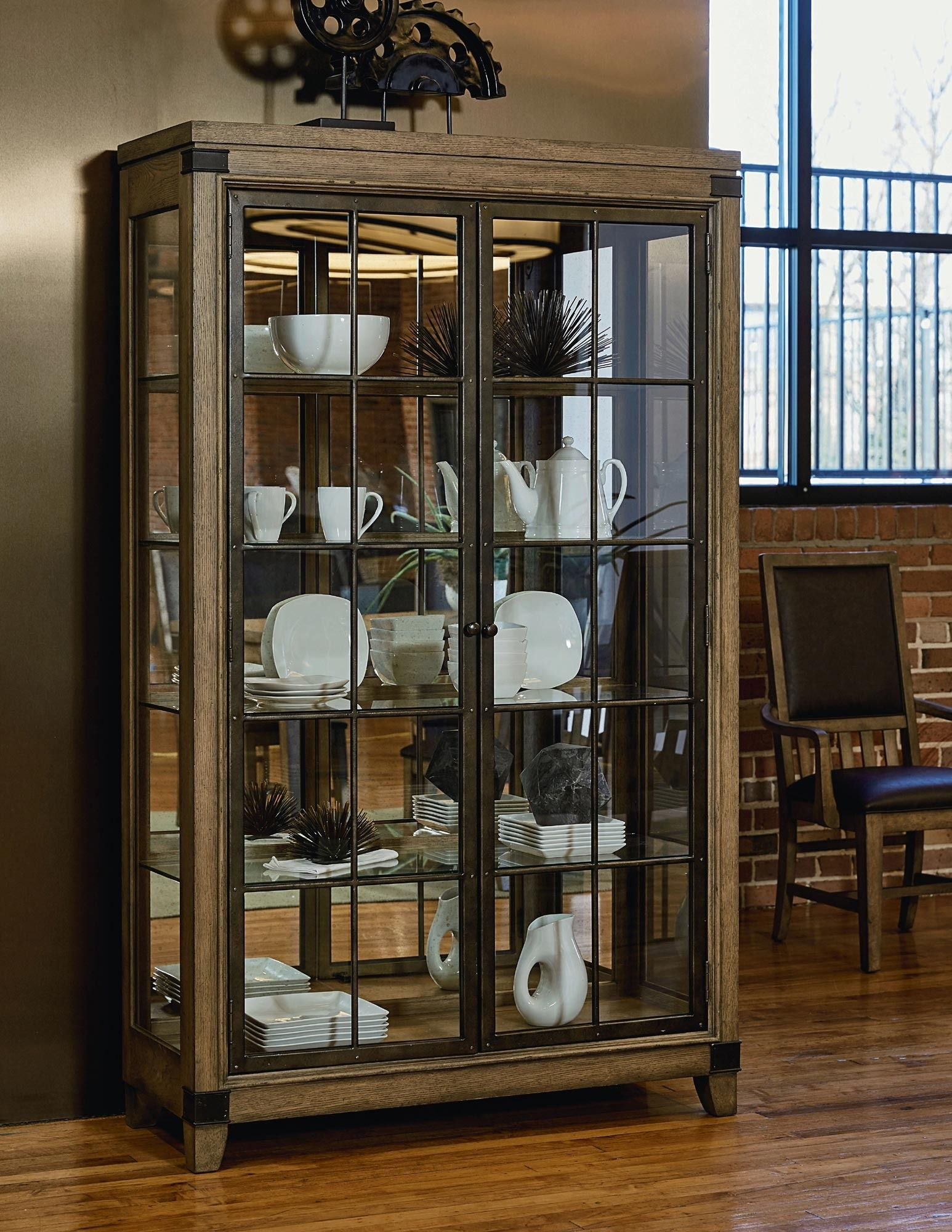 Metalworks Bunching Display Cabinet In Oak Legacy Classic Furniture Home Gallery Stores Glass Curio Cabinets Furniture China Cabinet