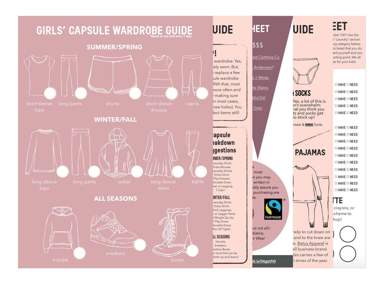 Girl S Capsule Wardrobe Guide Worksheet