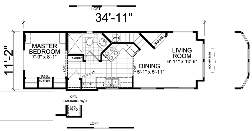Coppersmith 11 X 35 Park Model Rv Floor Plan Factory Expo Park Models Park Model Homes Park Model Rv Park Models