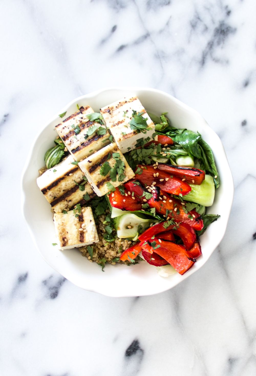 Soy Sauce Quinoa Bowl Tofu Recipes Food Recipes Grilled Tofu