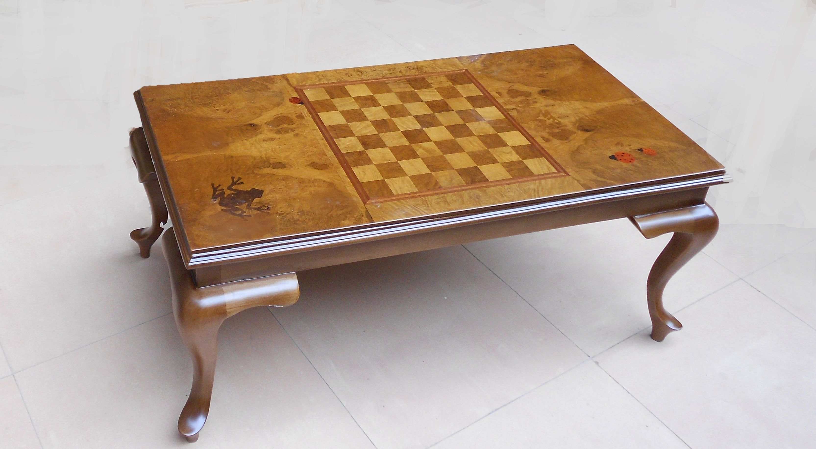 handmade marquetry Marquetry chess table Pinterest