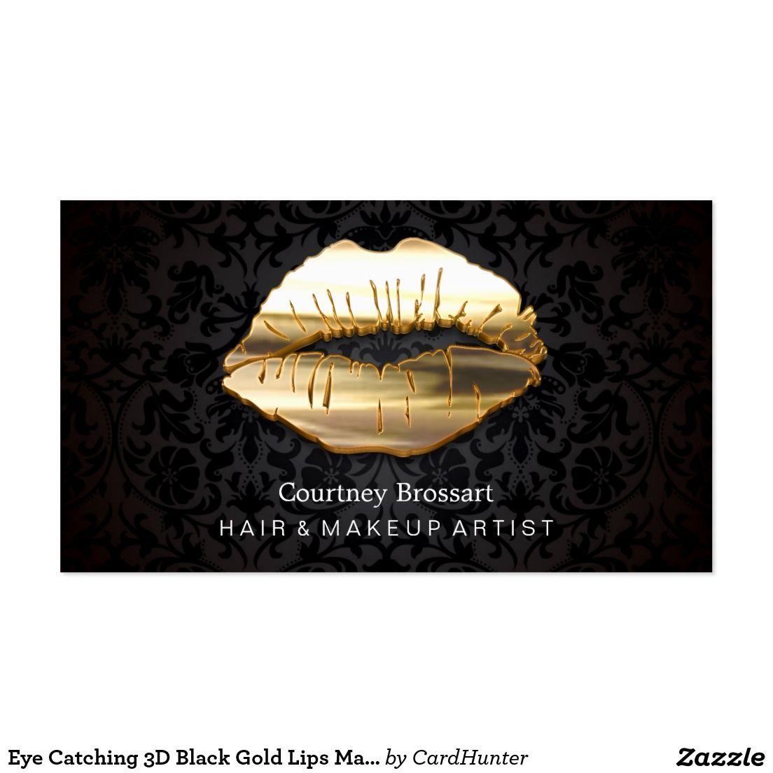 Eye Catching 3D Black Gold Lips Makeup Artist Business Card | nails ...