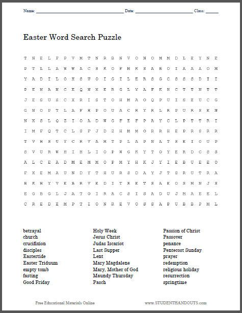 religious easter word search puzzle free to print pdf file grades 3 and up holidays. Black Bedroom Furniture Sets. Home Design Ideas
