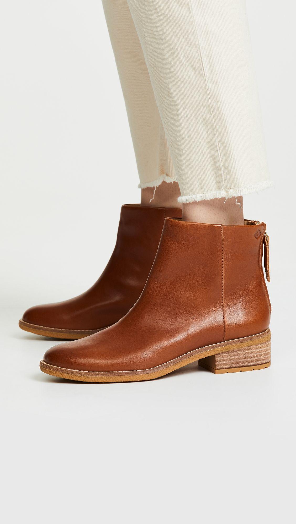 BELLA Ladies Leather Zip Up Boots Cognac