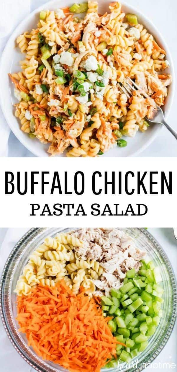 This buffalo chicken pasta salad has the perfect combination of noodles, crisp veggies, tangy buffalo chicken and a cooling ranch sauce. Topped with creamy blue cheese for an easy summer pasta salad the entire family will love! #pasta #pastafoodrecipes #pastasalad #pastarecipes #buffalo #buffalosauce #potluck #sidedish #sides #easyrecipe #recipes #iheartnaptime