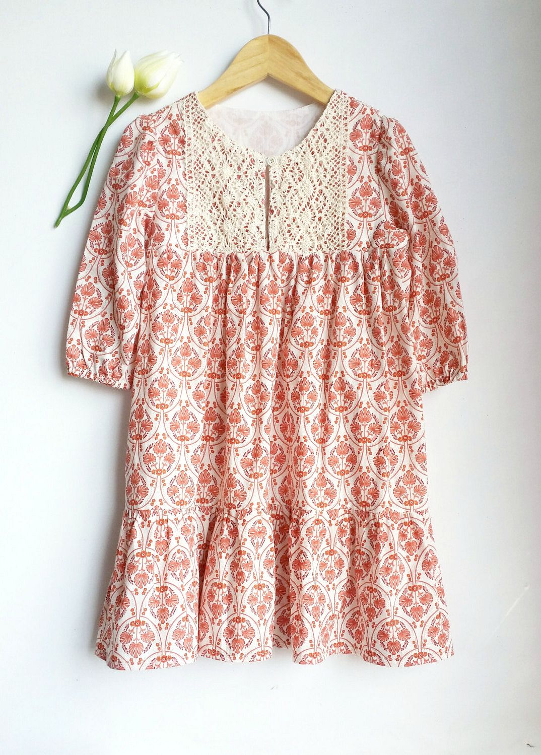 Girls Handmade Crochet Bib Country Dress   Lilac Handmade on Etsy