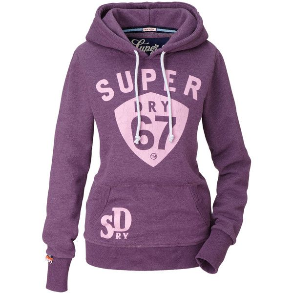 SUPERDRY Hoodie (€60) ❤ liked on Polyvore featuring tops, hoodies, jackets, shirts, outerwear, shirt hoodies, hoodie shirt, shirt hoodie, purple hooded sweatshirt and hooded pullover