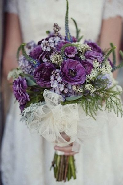 Trend We Love Lace Wedding Details Purple Wedding Bouquets