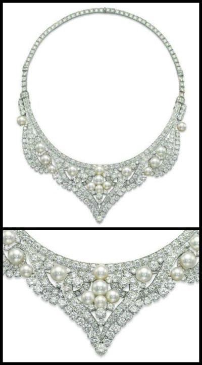 David Webb pearl and diamond necklace that converts into a tiara Via Diamonds in the Library