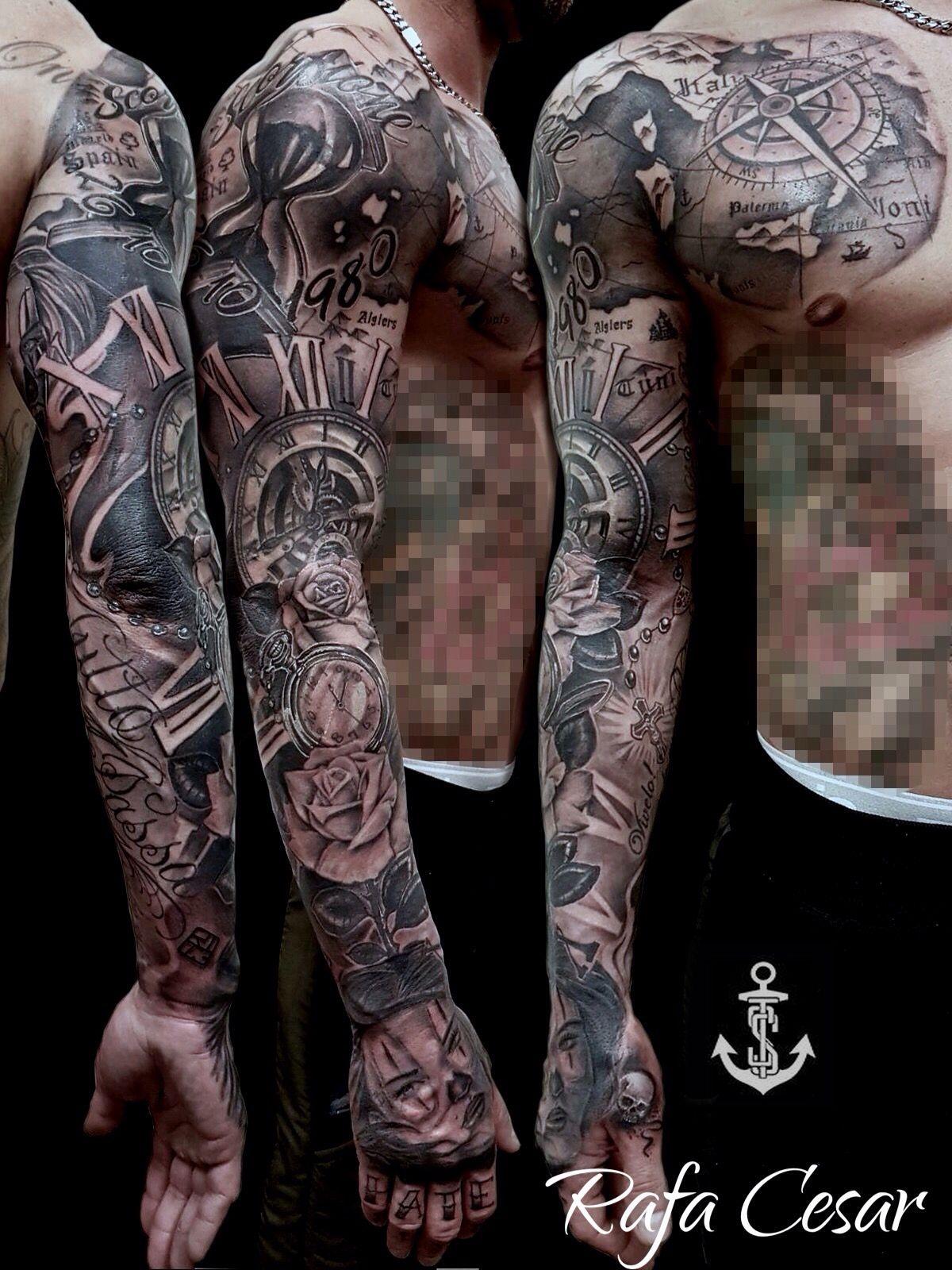 Chicano Sleeve Tattoo Gg Tatuajes De Relojes Tatuajes Para