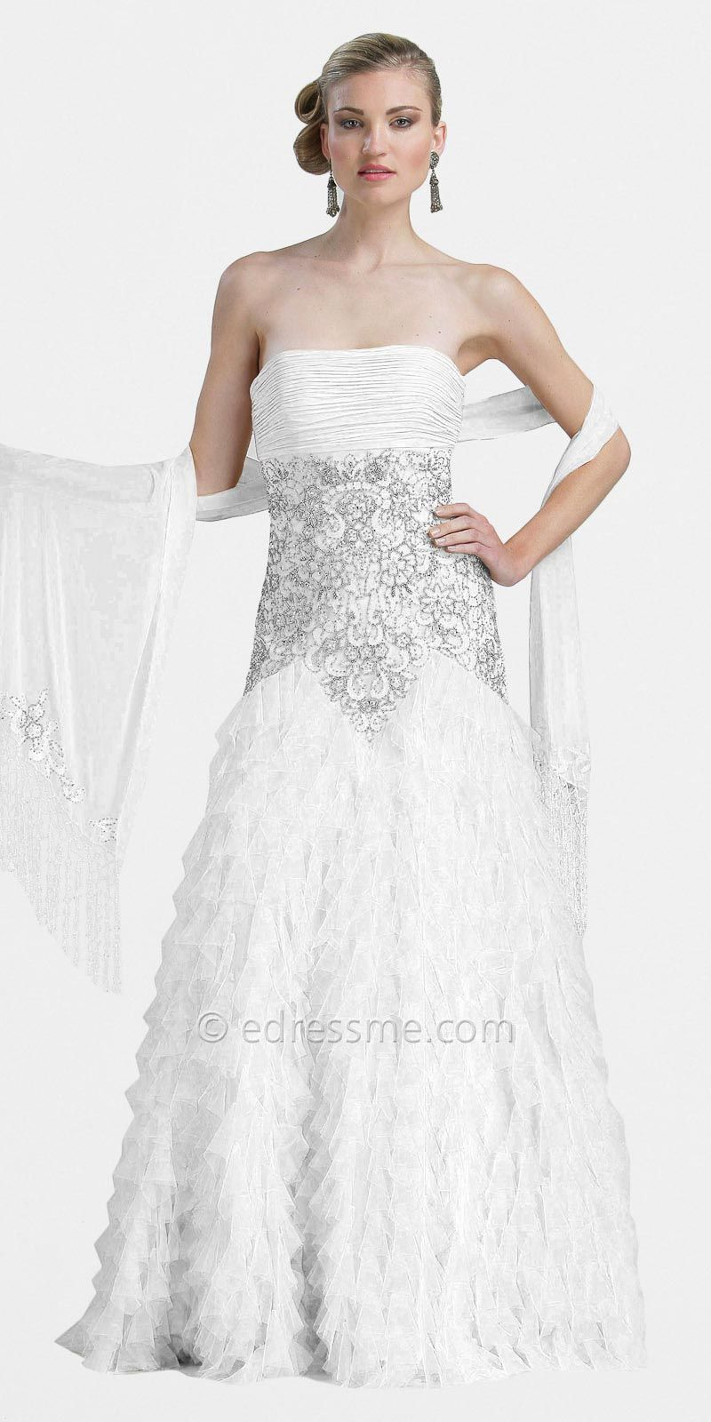 White vintage formal gowns by sue wong at edressme vintage fashion