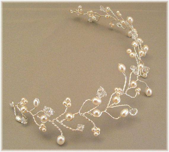 Ivory Wedding Gown Tiara Hair Vine Tiaras Ivory by BridalDiamantes, $58.00