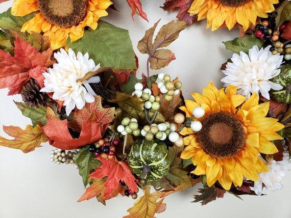 Photo of Fall Wreath, Fall Sunflower Wreath, Sunflower Wreath for Front Door, Autumn Wreath, Sunflower Wreath, Fall Door Wreath, Fall Floral Wreath