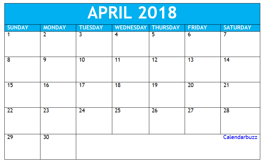 Download April 2018 Calendar Template 2018 Calendar Templates