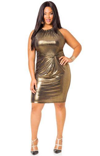 8c78268c7e Ashley Stewart Liquid Gold Knot Waist Dress Plus Size  plussize   plussizedresses