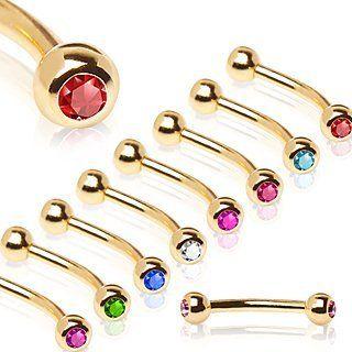 1 x Steel Eyebrow Bar with CZ Gems 16G 1.2mm Choice of Colour /& Bar Length