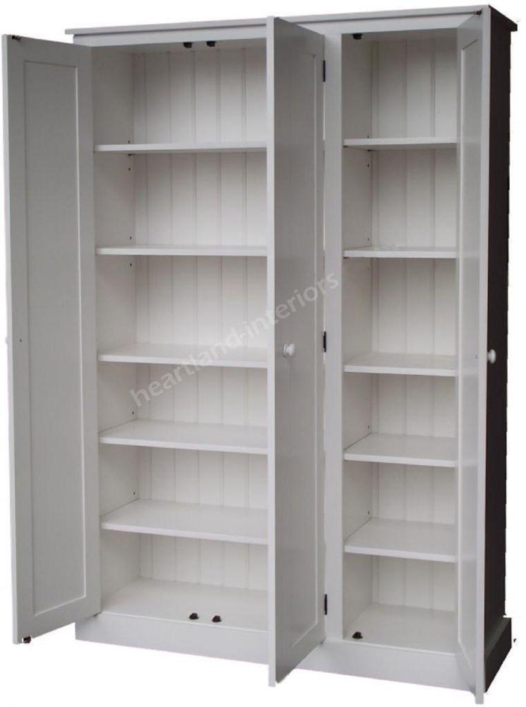Solid Wood Cupboard White Painted 3 Door Storage Kitchen From 3 Door