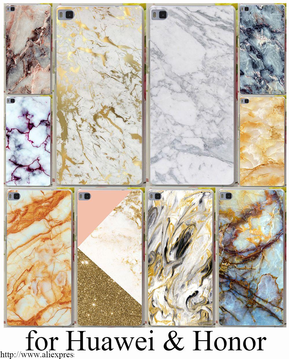 Oro marmo collage duro trasparente case cover per huawei p6 p7 p8 p9 lite plus e honor 6 7 4c 4x g7 case cover