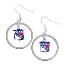 New York Rangers Dangle Hoop Earrings