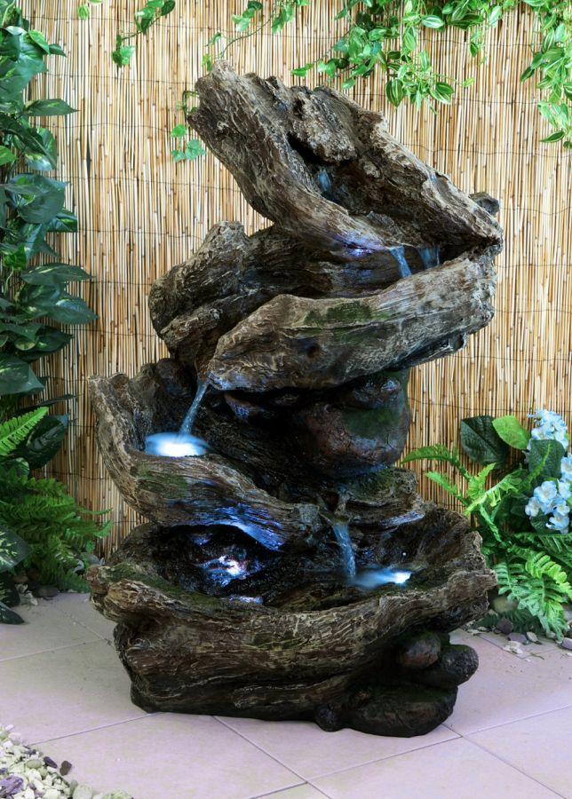 Fuente Cascada de Agua Rocosa - Luces LED LED, Agua y Fuentes - cascadas en jardines
