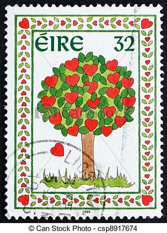 Stock Photo Of Postage Stamp Ireland 1995 Tree Of Hearts Ireland Circa Csp8917674 Search Stock Images Photographs Postage Stamps Stamp Printing Stamp