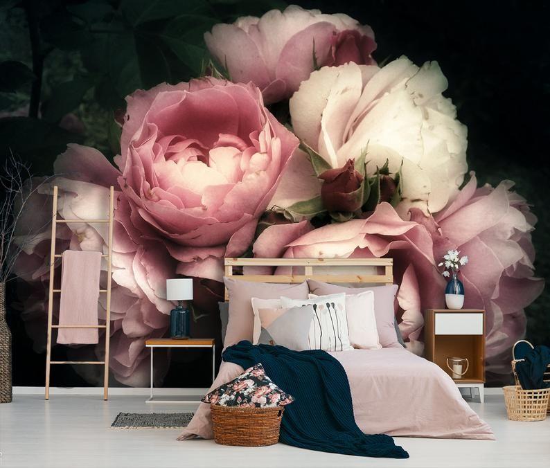 Pink Rose Wallpaper Peel And Stick Dark Floral Mural Wall Etsy In 2020 Blush Walls Peony Wallpaper Floral Wallpaper