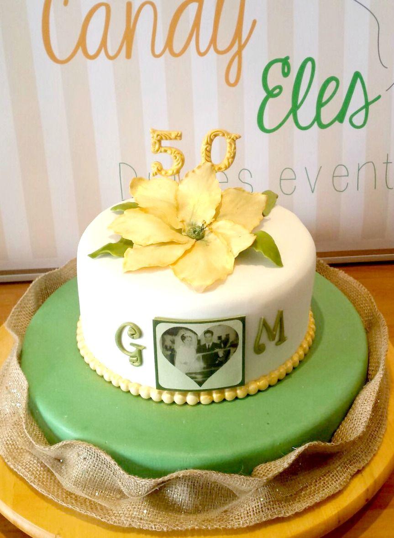 Tarta Fondant 50 aniversario de bodas. Bodas de Oro