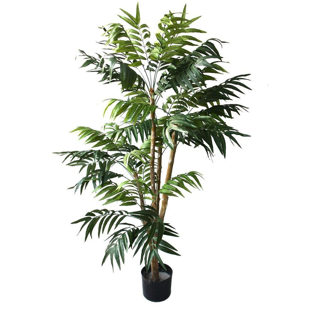 Romano 5 Ft Tropical Palm Tree Green Potted Trees Pure Garden Artificial Tree