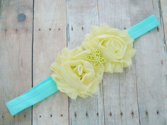 Spring baby headband  Yellow and blue by RosesAndRocketships