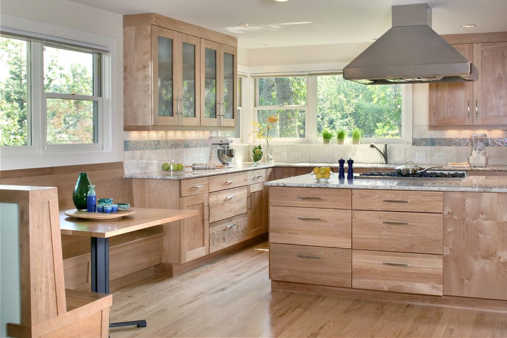 Beech Wood Cabinets Kitchen Contemporary With Built In Seating Area Wood Floor Birch Kitchen Cabinets Contemporary Kitchen Kitchen Cabinet Design