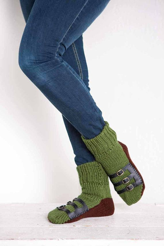 Knit Slipper Sock Adult Sandal Sock Faux Sandal Olive Green House ...