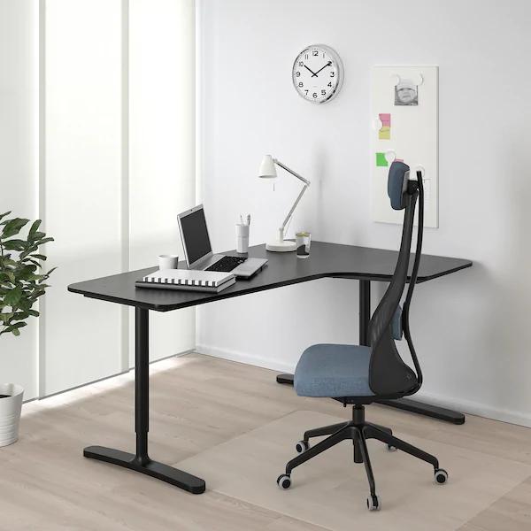 Bekant Corner Desk Right Black Stained Ash Veneer Black 63x43 1 4 Ikea In 2020 Ikea Bekant Ikea Corner Desk