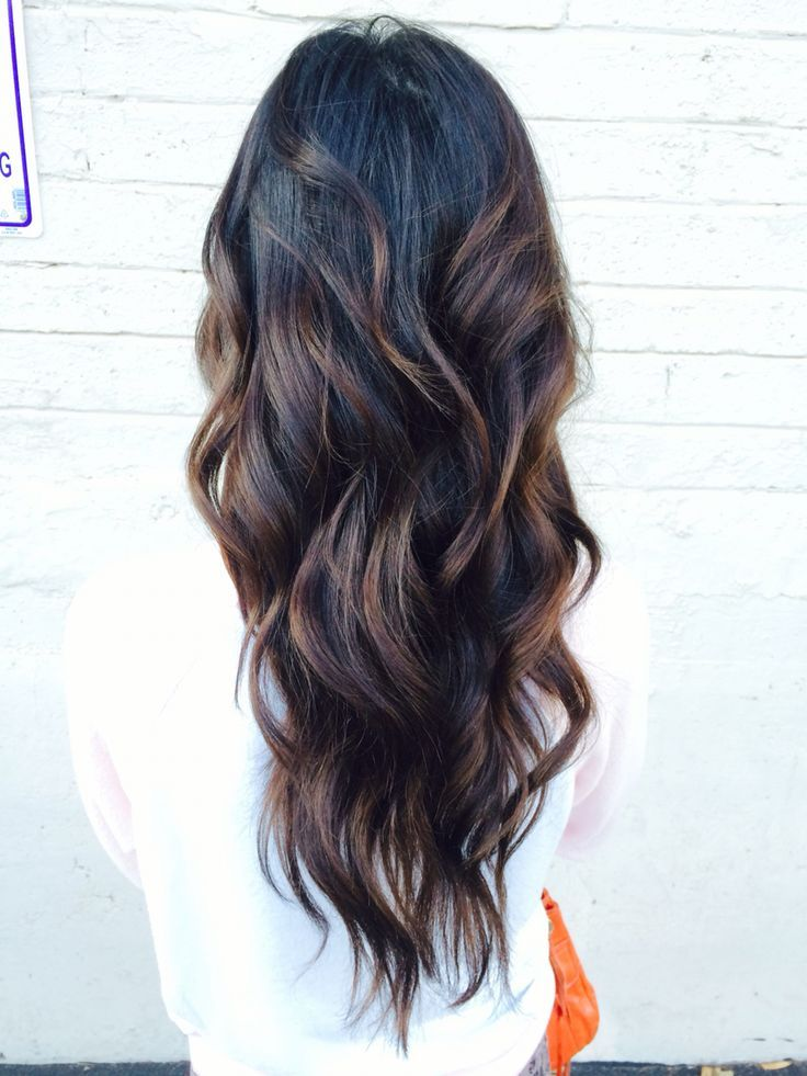 Wavy Black Long Layered Hair With Chocolate Brown Balayage Hair Styles Balayage Hair Long Layered Hair