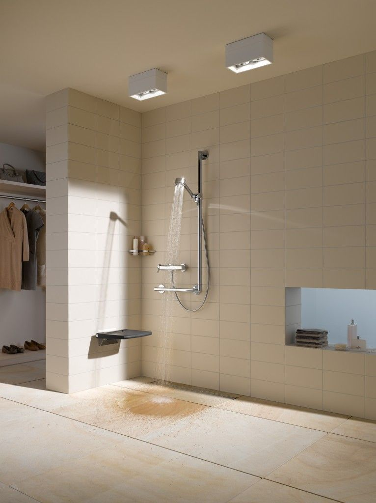 A neat, foldable wall mounted shower seat. Combined with a L-shaped ...