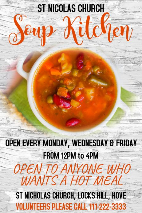 Soup Kitchen Poster Template #churchitems