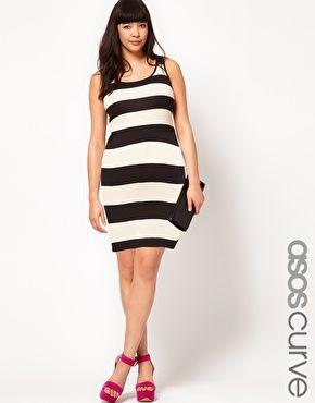 ASOS CURVE Bodycon Dress In Wide Stripe