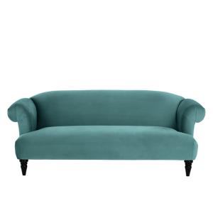 Claudia 3 Zitsbank Pauwblauw Fluweel Gemutliches Sofa 3 Sitzer Sofa Sofa