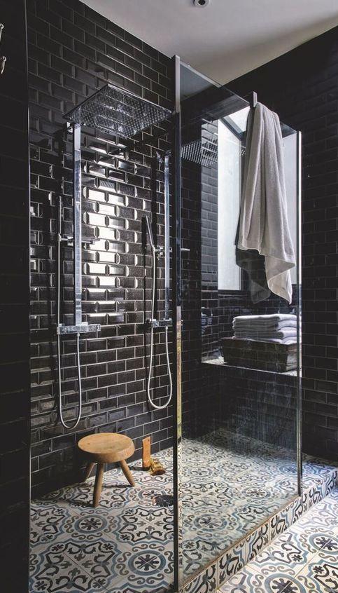 Black bathroom design idea also moroccan themed interior ideas to make your home look incredible rh za pinterest