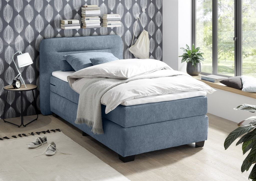 Boxspringbett 100 X 200 Cm Maine 1 H2 Denim Mega Mobel In 2020 Boxspringbett Bett Kinderbett