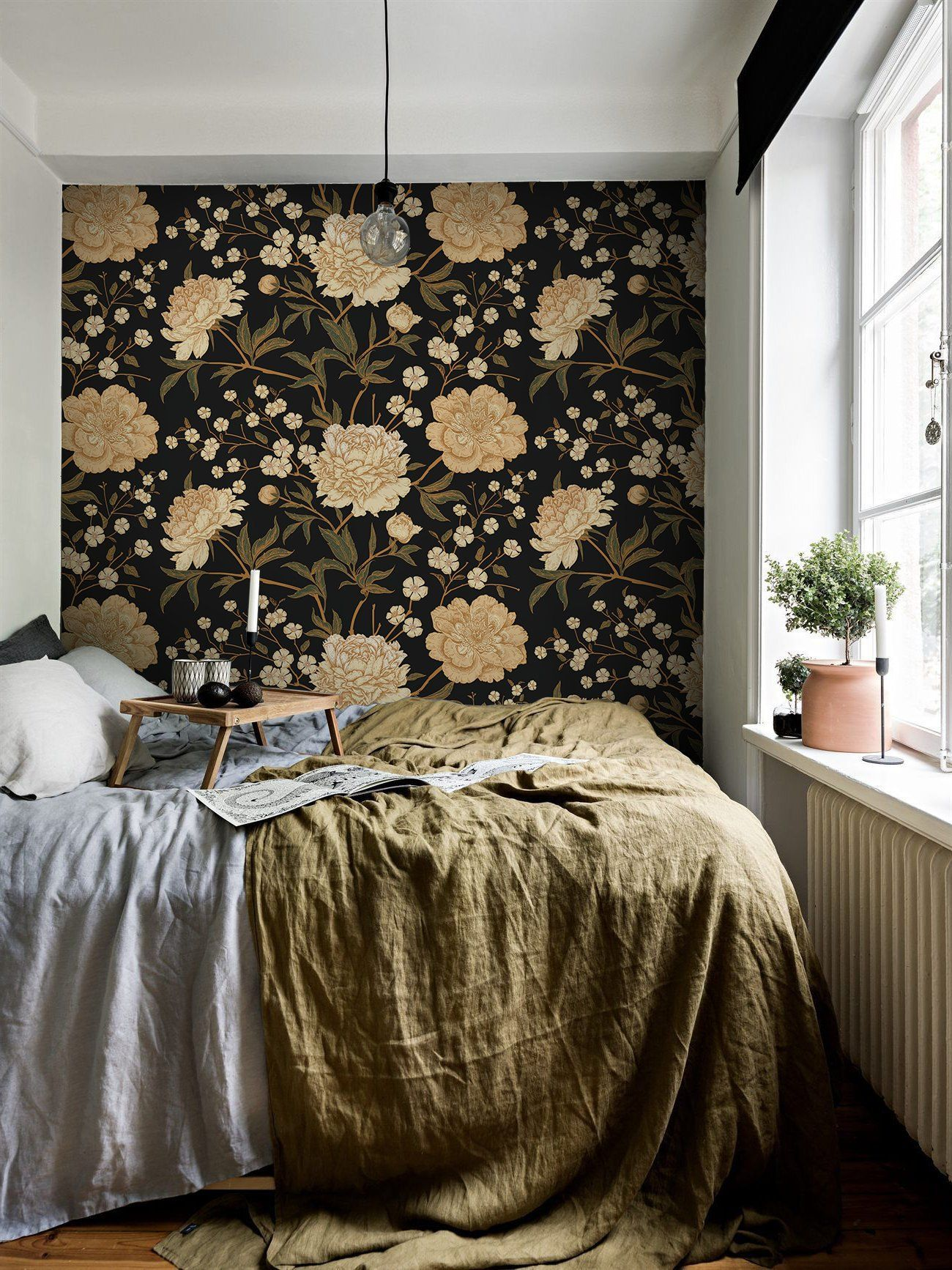 White peony removable wallpaper white and brown 46 in