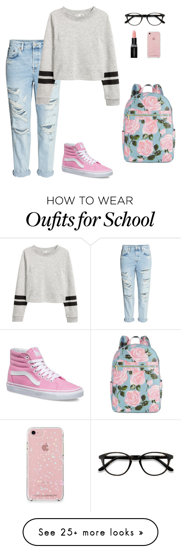 """""""Back to School Style"""" by peppermintpanda64 on Polyvore featuring H&M, Vans, EyeBuyDirect.com, Rebecca Minkoff, ban.do, Smashbox and vans"""