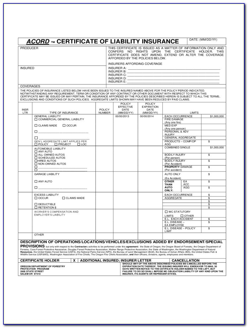 Acord Certificate Of Liability Insurance Fillable Form Form In