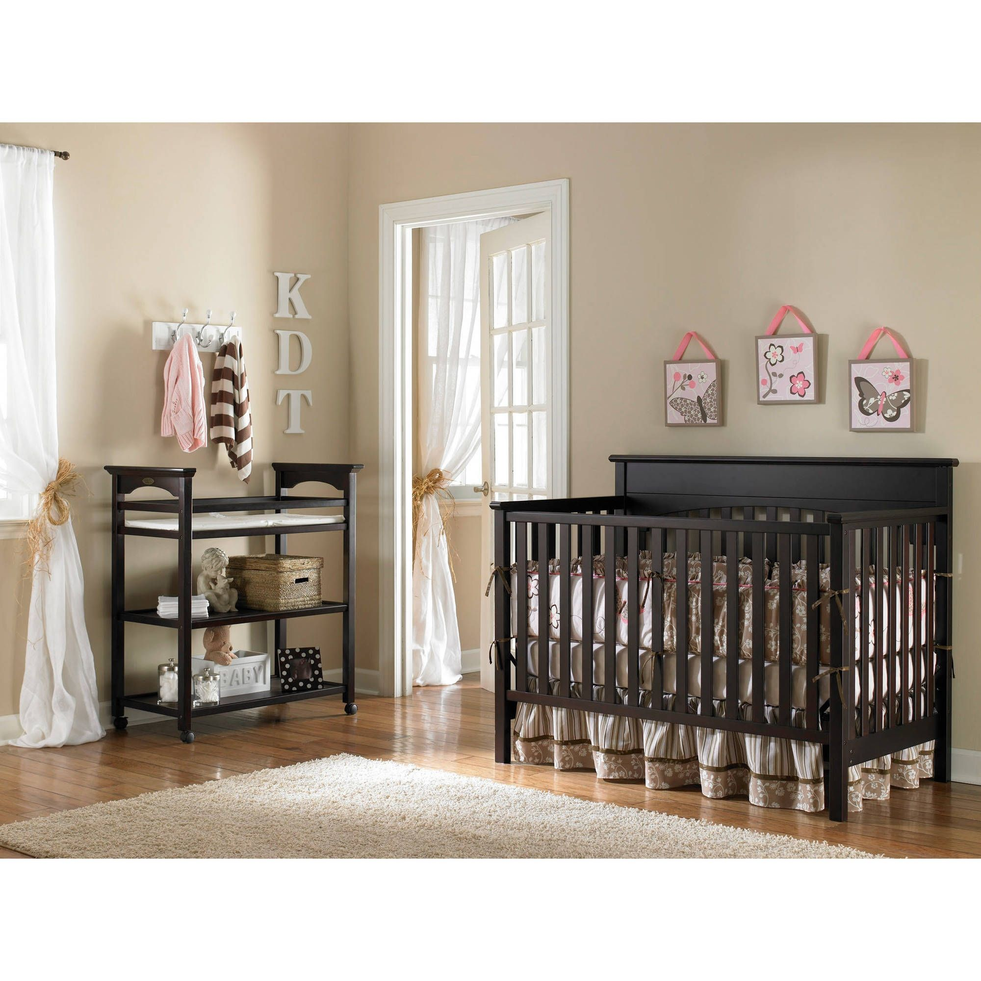Graco cherry wood crib and changing table samhosted
