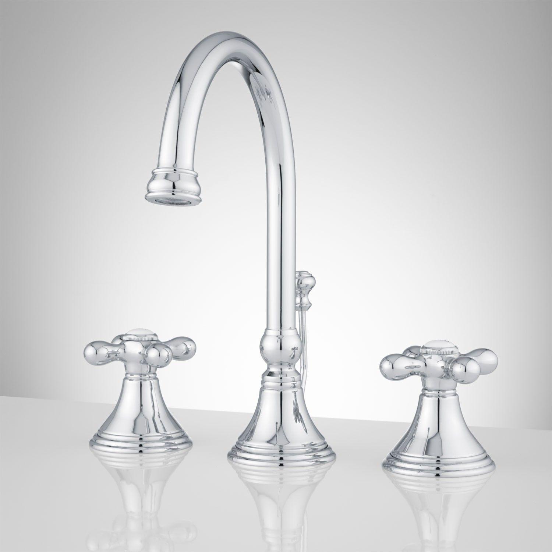 Melanie Widespread Gooseneck Spout Bathroom Faucet with Metal Cross ...