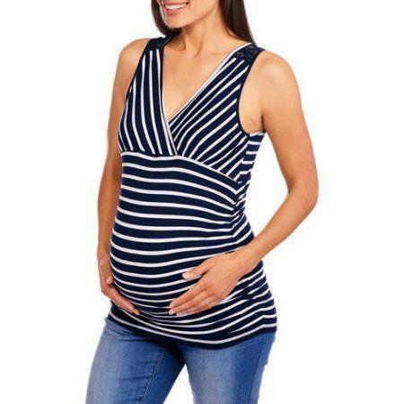 6bc2b65b526 Oh! Mamma Maternity Sleeveless Surplice Striped Top with Lace Back, Size:  Medium, White